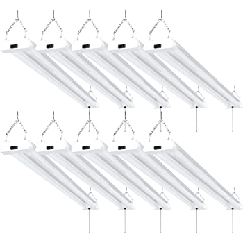Sunco Lighting 10 Pack LED Utility Shop Light, 4 FT, Linkable Integrated Fixture, 40W=260W, 5000K Daylight, 4100 LM, Frosted Lens, Surface/Suspension Mount, Pull Chain, Garage - ETL, Energy Star