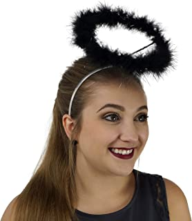 Light Up Angel Halo Headband - Black Feather LED Halloween Costume Hair Accessory