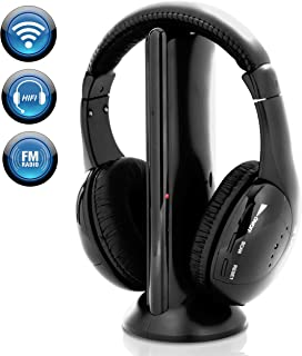 Stereo Wireless Over Ear Headphones - Hi-fi Headphone Professional Black Monitor Headset with 30m Range, Noise Isolation Padding, Microphone - TV, Computer, Gaming Console iPod Phone - Pyle Home PHPW5