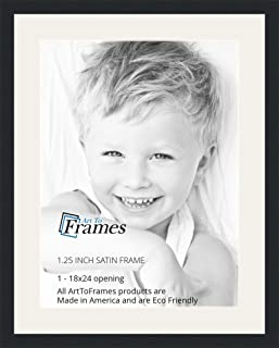 ArtToFrames 18 x 24 Inch Opening Single Mat with a Satin Black 1.25'' Wide Picture Frame, 2'' Super White Mat