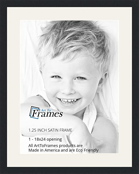 ArtToFrames 18 X 24 Inch Opening Single Mat With A Satin Black 1 25 Wide Picture Frame 2 Super White Mat