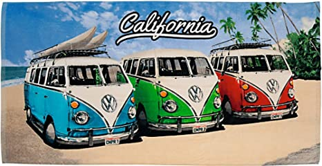 Volkswagen Bath Towel Vw Bulli California Beach Camper Van 75 X 150 Cm Red Blue Green