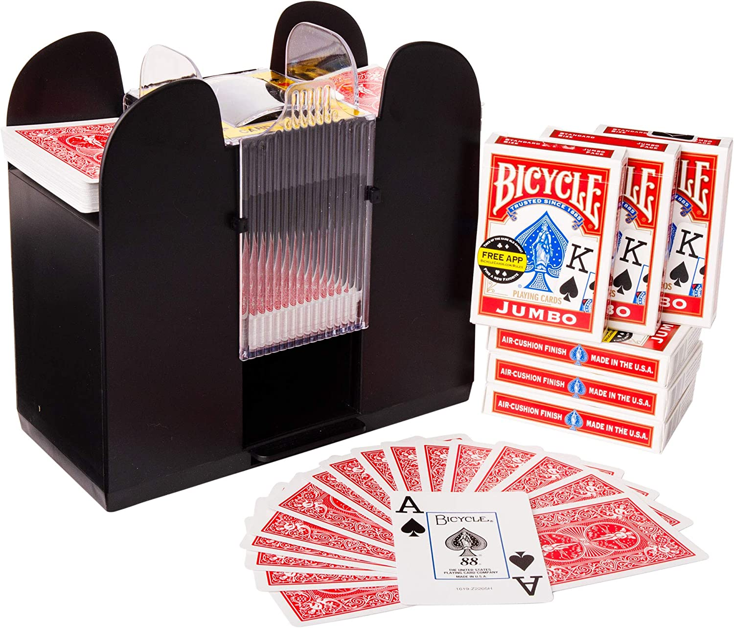 Classic Poker Brybelly 6-Deck Shuffler and 6 Jumbo Index Bicycle Decks /& Trading Card Games Battery-Operated Electric Shuffle Machine with Cards of Your Choice Home /& Casino Tournaments