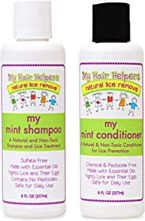 Lice Prevention Shampoo and Conditioner That Kills Lice and Eggs for Kids I Peppermint Essential Oil I Use Daily to Get Rid of Lice and Stay Nit-Free I 8 Ounces Each