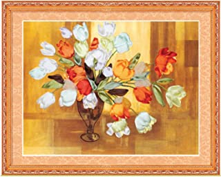 3 Colors Rose Silk Ribbon Embroidery 3D Canvas Painting Satin Cross Stitch kit Needlework Handcraft Gift DIY Home Wall Stickers,red Without Frame,with Circle