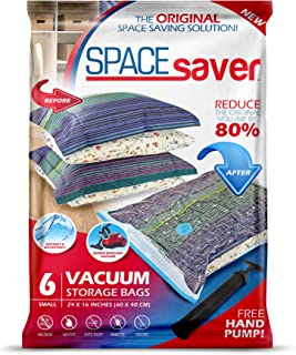 Spacesaver Premium Vacuum Storage Bags. 80% More Storage! Hand-Pump for Travel! Double-Zip Seal and Triple Seal Turbo-Valve for Max Space Saving! (Small 6 Pack)