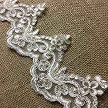 2 Yards, Bridal Lace Trim on Organza, Pearls and Clear Sequins, for Veil, Wedding Dresses, Garments, Ivory, 4