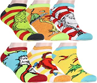 Dr. Seuss Socks Adult Book Character Designs 6 Pack Mix and Match No Show Ankle Socks