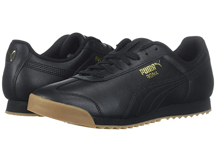 Vintage Sneakers for Men and Women PUMA Roma Classic Gum Puma BlackPuma Team Gold Mens Shoes $70.00 AT vintagedancer.com