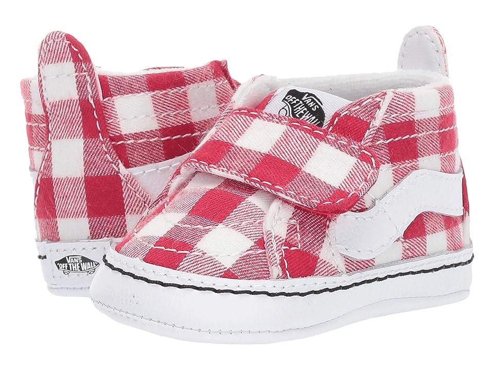 Vans Kids SK8-Hi Crib (Infant/Toddler) ((Gingham) Racing Red/True White) Girls Shoes