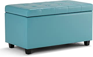 Simpli Home AY-S-38-BU Cosmopolitan 34 inch Wide Contemporary Rectangle Storage Ottoman in Soft Blue Faux Leather