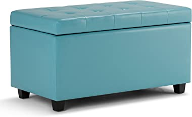 SIMPLIHOME Cosmopolitan 34 inch Wide Rectangle Lift Top Storage Ottoman in Upholstered Soft Blue Tufted Faux Leather, Footres