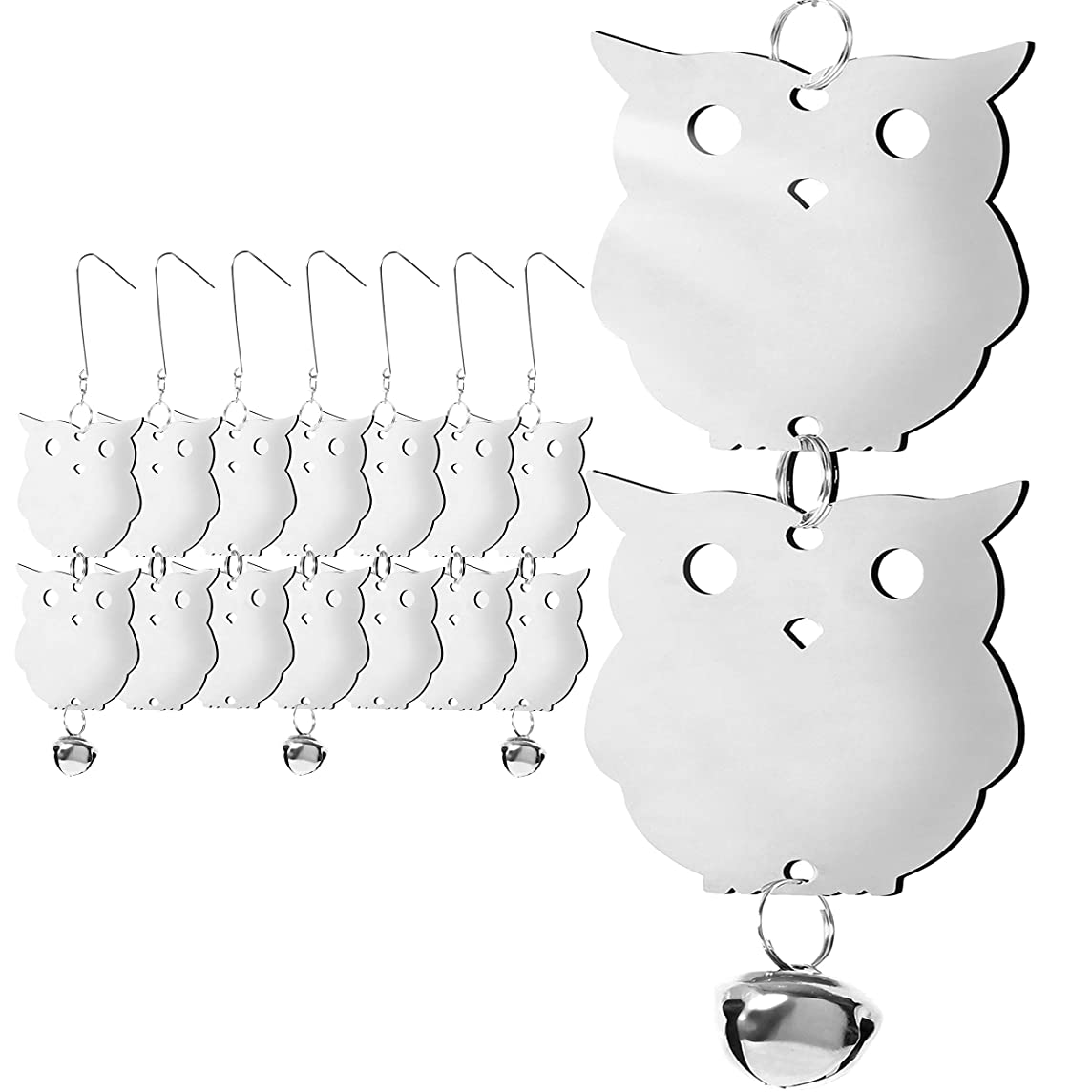 HOMESCAPE CREATIONS Stainless Steel Bird Repellent Reflective Scare Discs - Hanging Owl Decor Deterrent Control Device for Woodpeckers and Pigeons / 16 Piece Set / 4 Bells