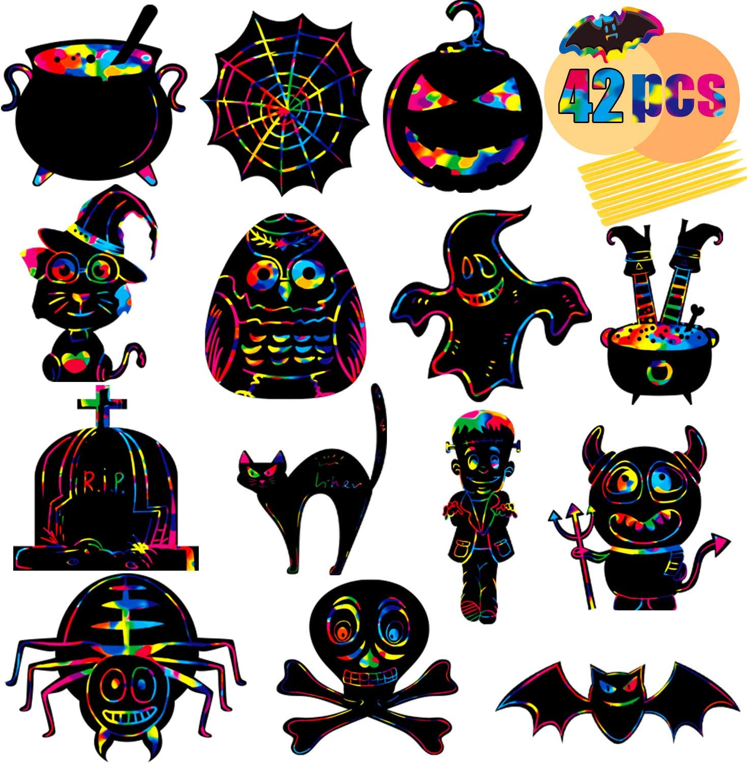 Funnlot Halloween Scratch Paper New color Sales of SALE items from new works 42PCS Pap Art