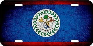 High Grade Aluminum License Plate - Flag of Belize (Belizean) - Rustic