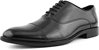 Mens Genuine Waxy Calf Leather Lace Up Cap Toe Oxford Dress Shoe, Style AG500 Wide FEET Should Size 1/2 A Size UP