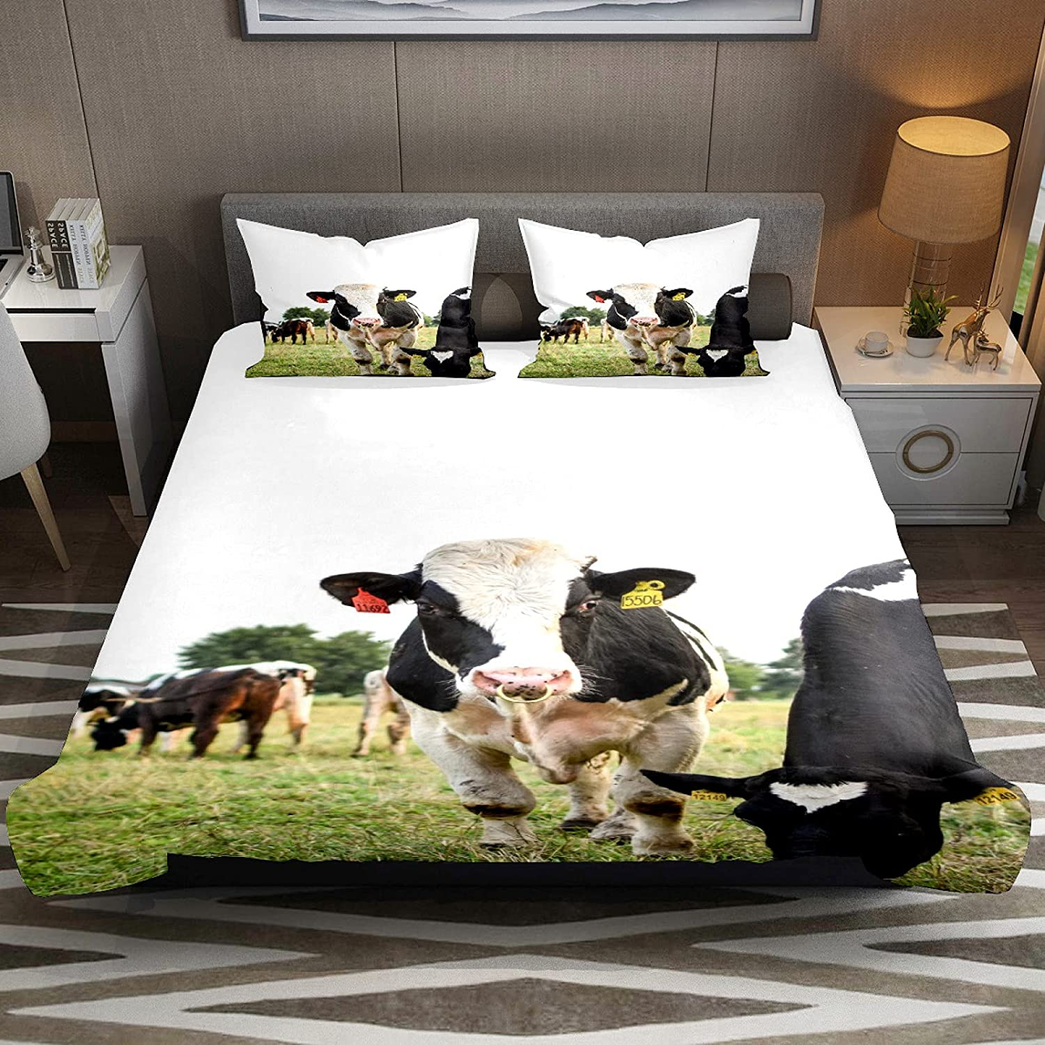 N\O Farm Cow Meadow Field Bedding Sets Very popular P Breathable 3 Bedclothes Translated