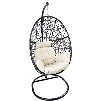 Amazon Com Egg Chair Rattan Swing Chair Outdoor Indoor Wicker Tear Drop Hanging Chair With Stand Kitchen Dining