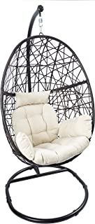 Luckyberry Egg Chair Outdoor Wicker Tear Drop Hanging Chair with Stand