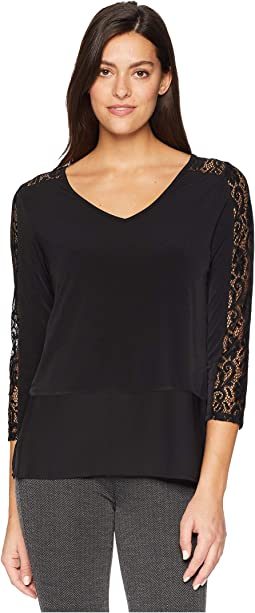 Long Sleeve Knit Top w/ Shoulder Lace Detail