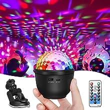Mini boule Disco, Lumière Disco SOLMORE, Lumière de Fête, Veilleuse Rechargeable USB, 12 Effets de Lumière 800mAh avec Télécommande Éclairage de Scène à Effet de Lumière RVB pour la Décoration de Noël