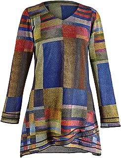 Parsley & Sage Women's Color Block Tunic Top -Geometric Print V-Neck Long Sleeve