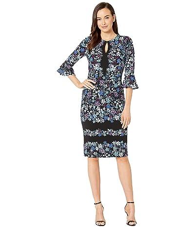 Maggy London Printed Texture Sheath Dress with Ruffle Sleeve (Dark Navy/Blue) Women