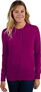 Women's 100% Pure Cashmere Long Sleeve Zip Hoodie Cardigan Sweater