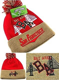 San Francisco New Leader SF The Bay Area Beanie Cuffed Pom Red Gold Era Hat Cap