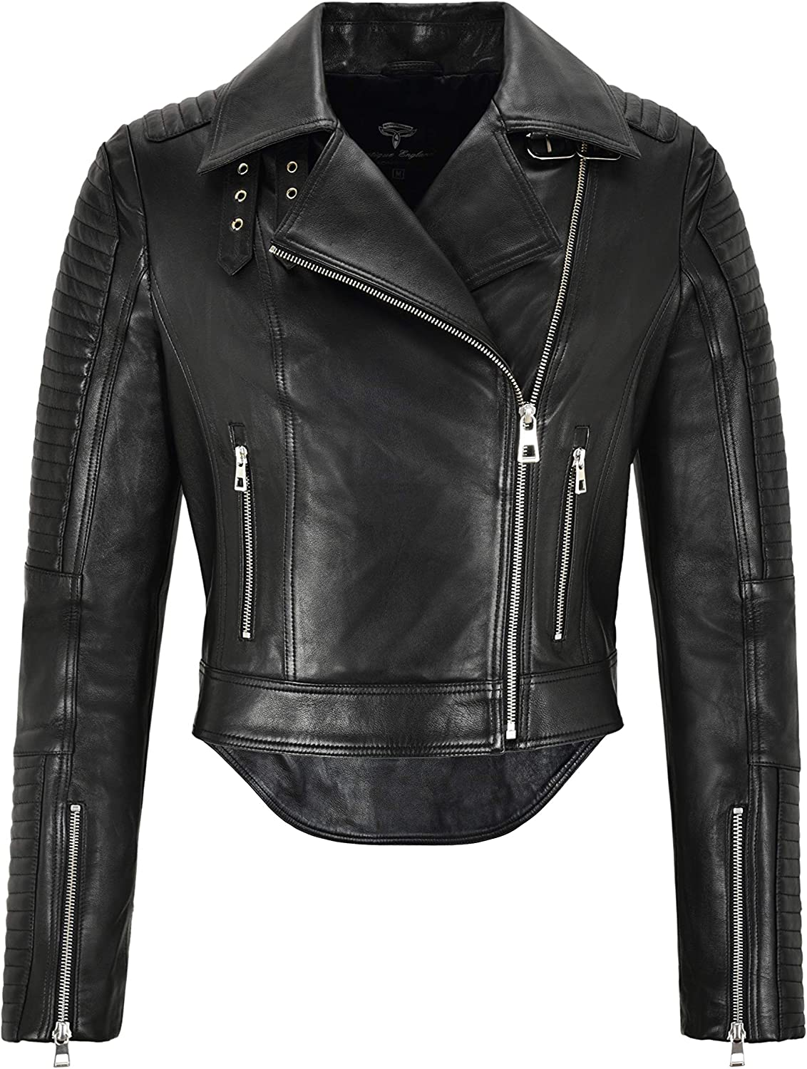 Boutique Catarina Ladies Cropped Biker Fashion Leather Jacket with Dovetail