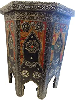 Moroccan End Table Engraved Silver and Leather with Glass Top