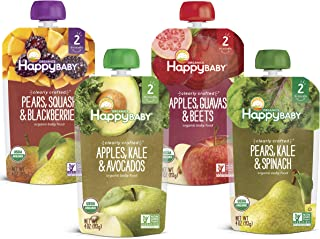 Sponsored Ad - Happy Baby Organic Clearly Crafted Stage 2 Baby Food Variety Pack, Pear Squash & Blackberries, Apple Kale &...