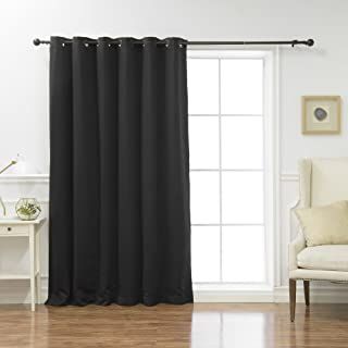 Best Home Fashion Premium Wide Width Thermal Insulated Blackout Curtain - Antique Bronze Grommet Top - Black - 80