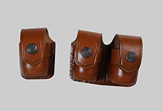 ALS3738 Single & Double Speedloader Pouch 357 Magnum 6 & 7 Shots, 44 Magnum 5 Shot, S&W .38 Special 6 Shot speedloaders Genuine Leather Handmade!