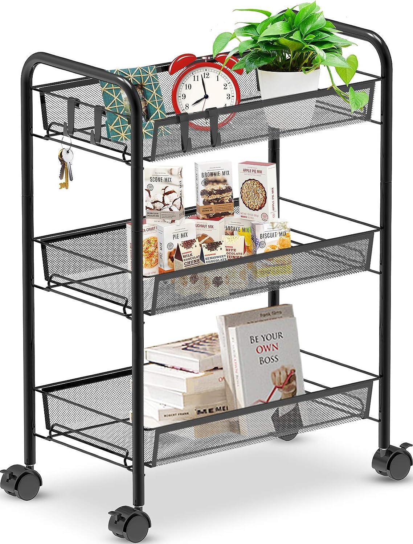 Auledio 3-Tier Rolling Storage Utility Cart, Multifunction Metal Trolley Organizer with Mesh Wire Basket on 2 Lockable Wheels for Kitchen Bathroom Office, Black