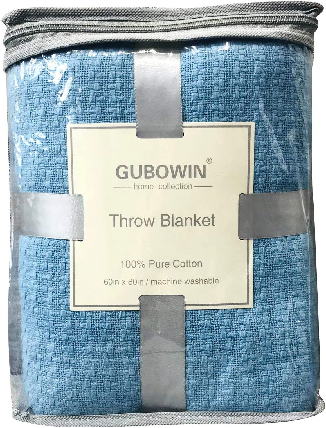 GUBOWIN 100% Natrual Cotton Soft Sale price Blue Bed for Blanket All Throw store