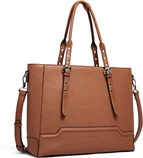 BOSTANTEN Women Briefcase Leather Laptop Shoulder Handbag Fit Up to 15.6 inch Tote Work Purses Cross-Body Bag Brown Brown Medium
