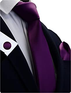 """GUSLESON Brand New 3.15""""(8cm)Solid Color Necktie and Pocket Square Cufflinks Sets For Men + Gift Box"""