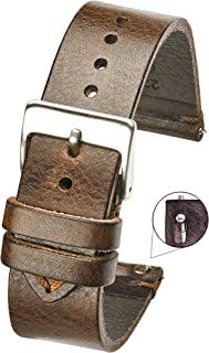 Hand Made Genuine Vintage Leather Watch Strap with Quick Release Steel Spring Bars - Black,