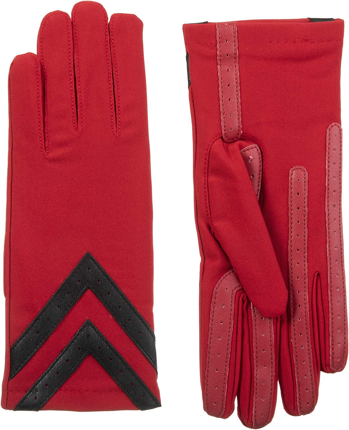 isotoner Women's Spandex Touchscreen Cold Weather Gloves with Warm Fleece Lining and Chevron Details, smartDRI Red, Large/X-Large