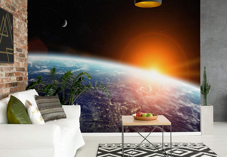 Sonnenaufgang Über Den Planeten Erde Vlies Fototapete Fotomural - Wandbild - Tapete - 416cm x 254cm   4 Teilig - Gedrückt auf 130gsm Vlies - 11793VEXXXL - Sterne & Weltraum B07K1Y8FN8