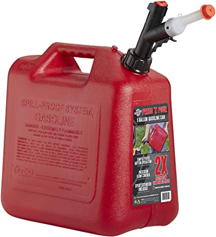 GARAGE BOSS GB351 Briggs and Stratton Press 'N Pour Gas Can, 5 gallon, Red: image
