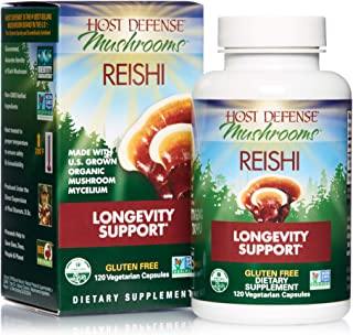 Host Defense - Reishi Mushroom Capsules, Naturally Supports a Healthy Heart and Cardiovascular System, Energy, Stamina, and Stress Response, Non-GMO, Vegan, Organic, 120 Count