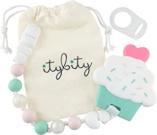 Cupcake Teething Toy with Pacifier Clip Girl, Baby Gift Set (Pink, Mint, Pearl)