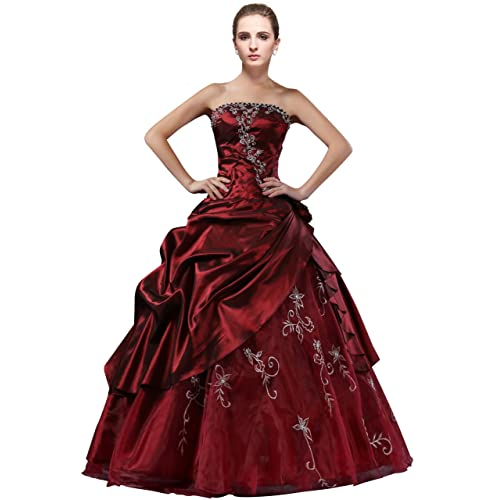 DLFASHION Strapless A-line Embroidered Taffeta Prom Dress 6cbe6177a