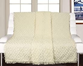 Saral Home Soft Cotton Unique Design Tufted Throw/Sofacover -140x210 cm, Ivory