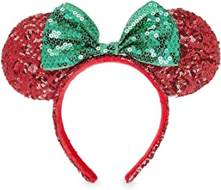 Disney Minnie Mouse Christmas Headband Ears Sequins Bow Green Red Theme Parks