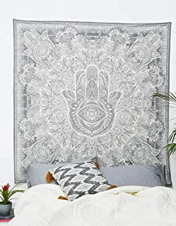 Craft N Craft India Wall Tapestry - Hanging Mandala Tapestries – Bohemian Beach Picnic Blanket – Hippie Decorative & Psychedelic Dorm Decor - 85 x 83 Inch (White Queen)