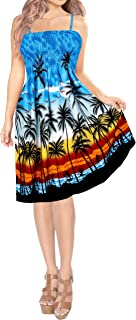 LA LEELA Women Short Tube Dress Printed Relax Summerwear 999