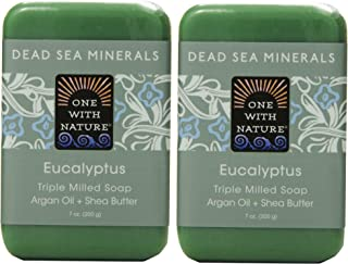 One With Nature Eucalyptus Soap (Pack of 2) With Dead Sea Minerals, Argan Oil, Shea and Eucalyptus Essential Oil, 7 oz. Each